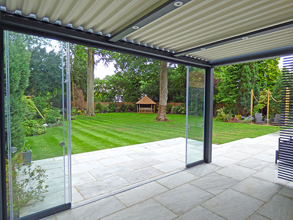 View from inside Patio Shelter looking towards Julian Christian Summer house towards garden rear