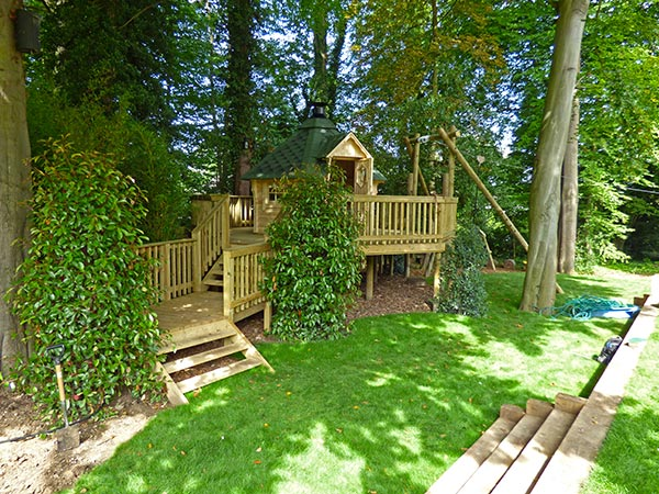 Raised decking play area featuring Barbecue Lodge and Zip Wire